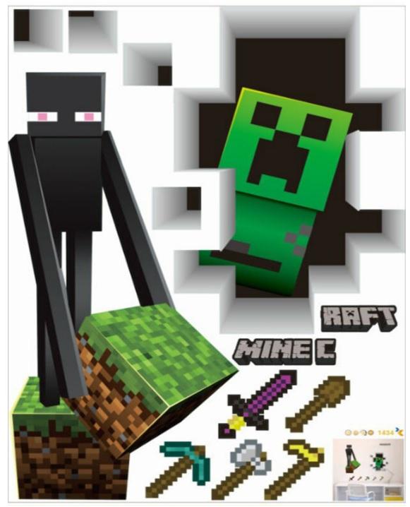 Minecraft samolepka na stenu B